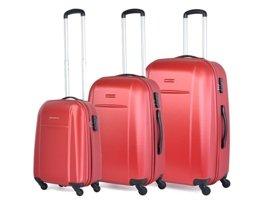 Zestaw trzech walizek PUCCINI ABS02 ABC czerwony